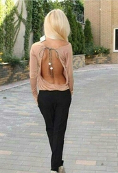 shirt,tan,open back,rope,fashion,girly,summer,blouse,backless top,nude,backless,long sleeves
