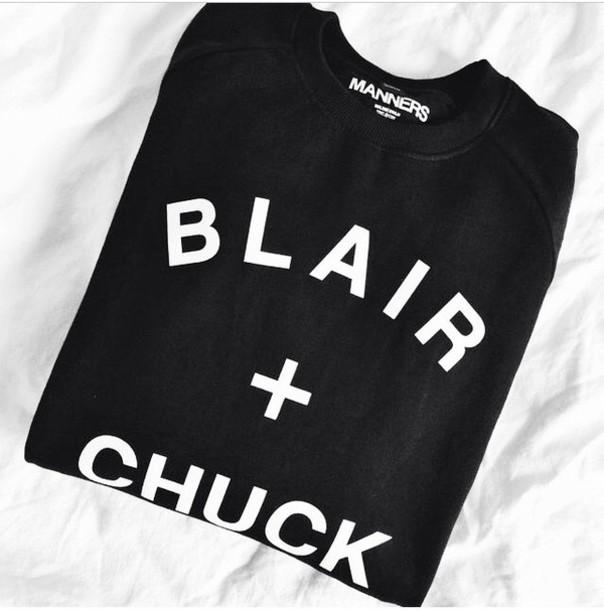 blair chuck taylor all stars sweater blouse gossip girl chuck & blair girly trendy shirt gossip girl sweat shirt black