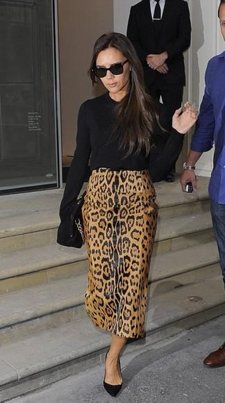 victoria beckham skirt fall outfits leopard print