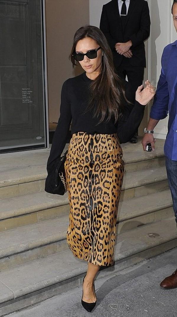skirt leopard print victoria beckham fall outfits