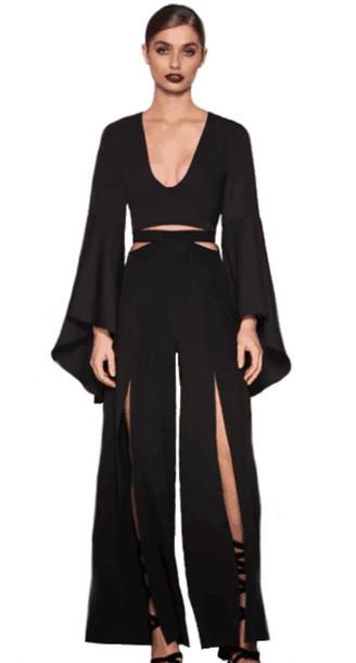 7bff1f5ad3c jumpsuit dream it wear it two-piece two piece dress set black top black  pants