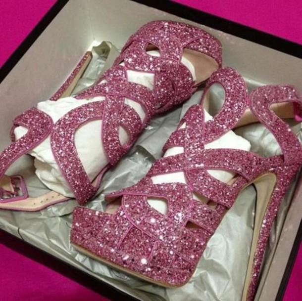 shoes heels pink sparkle homecoming prom platform