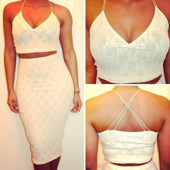 two piece skirt tan lace