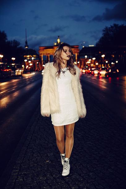 masha sedgwick blogger faux fur white dress dress shoes jacket jeans white fur jacket fur jacket white jacket mini dress necklace statement necklace boots lace up boots