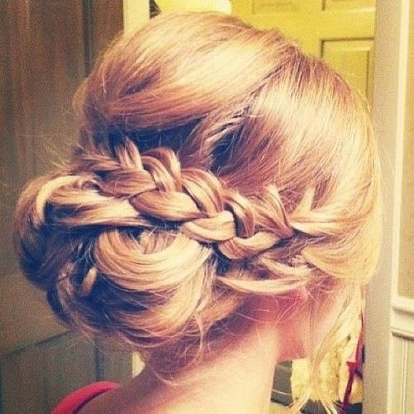 low hat hair braid braided bun messy bun