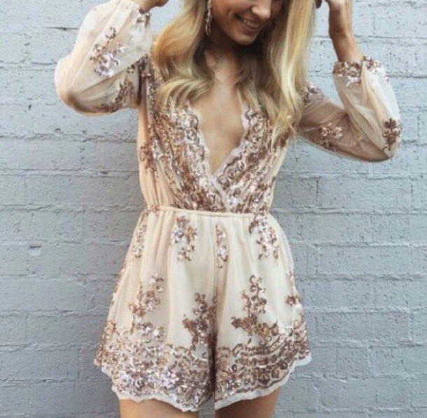 romper flowy flowy romper shorts short shorts detailed beading gem detail long sleeves cuffed sleeves low cut v neck romper v neck cleavage nude nude romper long sleeve romper