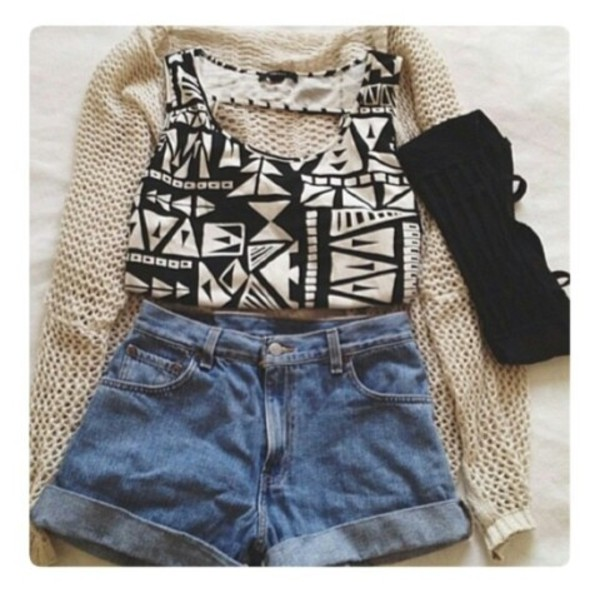 shirt shorts denim vintage shorts tank top crop summer black white pattern