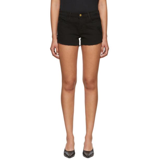 Frame Black 'Le Cut Off' Tulip Hem Shorts