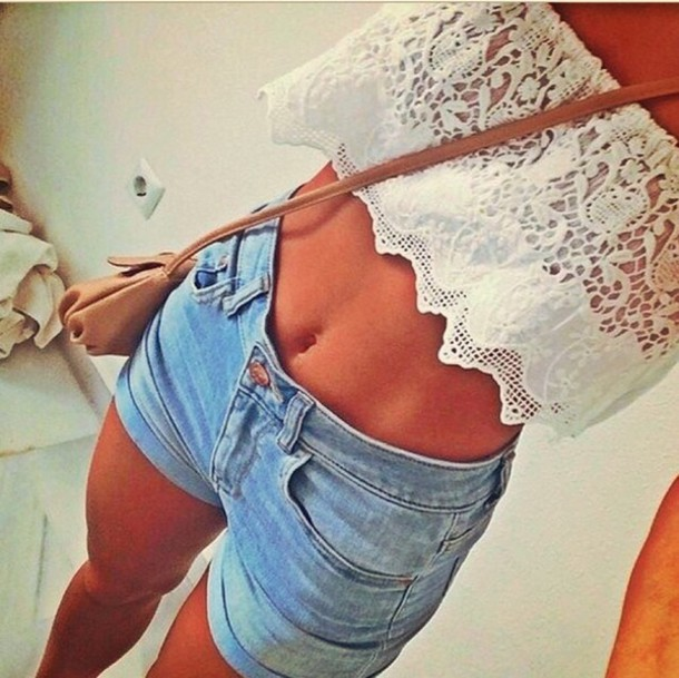 top blouse jeans ships to australia nice white crop tops shorts shirt style dress crop tops lace top white top lace lace up short denim denim shorts girly girl purse blue white