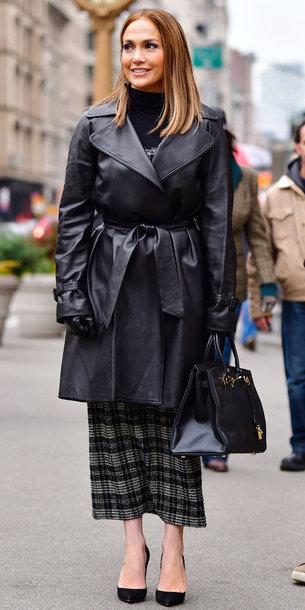 coat skirt pumps jennifer lopez turtleneck midi skirt
