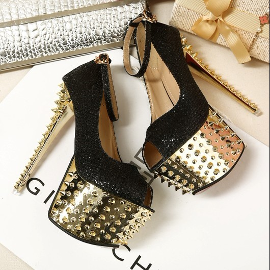 2014 sexy lace rivet 16cm high heeled shoes platform shoes princess shoes women's-inPumps from Shoes on Aliexpress.com