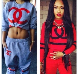 this jumpsuit thing top style sweatshirt tshirts chanel chanel t-shirt pants jogging suit red chanel