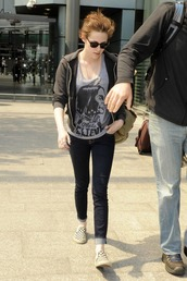 kristen stewart,vans,shirt,shoes