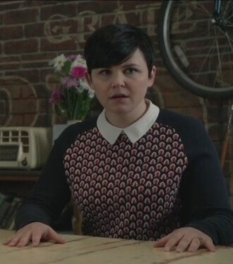 sweater navy and red patterned collared mary margaret blanchard once upon a time show ginnifer goodwin