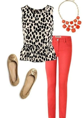 blouse polka dots white black black and white peplum coral coral pants pants colored denim tan tab flats flats bold necklace coral necklace jewels