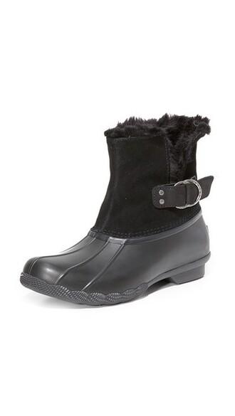 fur faux fur booties black shoes
