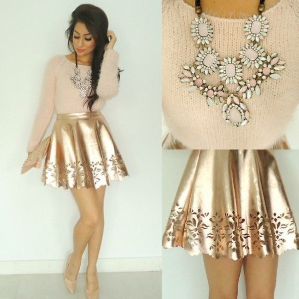 skirt gold sweater jewels