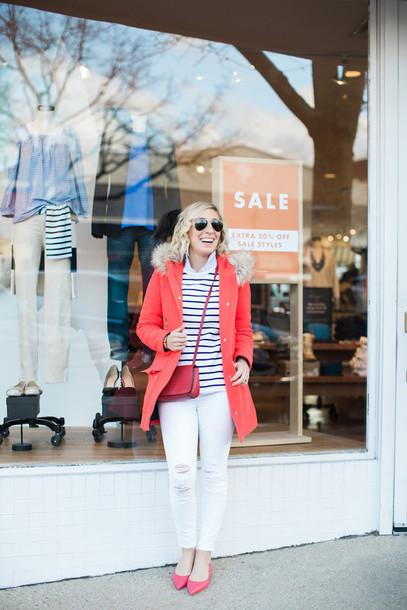 lemon stripes blogger jeans sweater shirt bag coat winter outfits red bag crossbody bag white jeans red coat