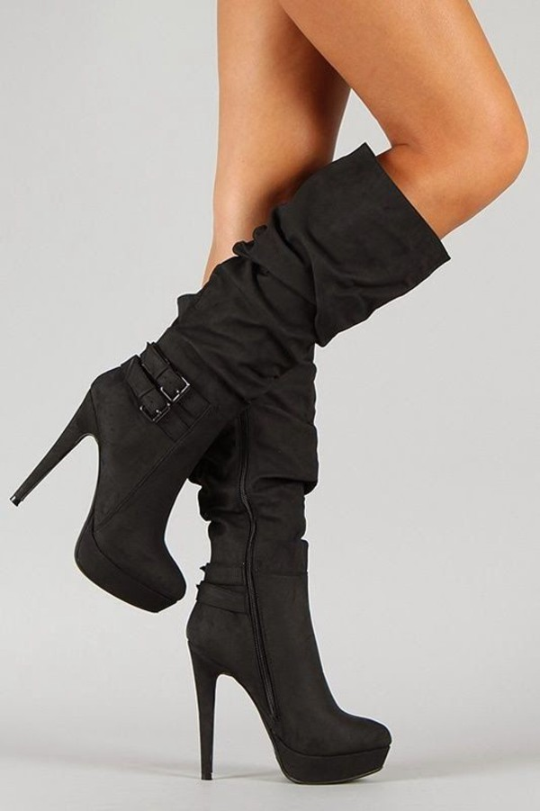 shoes black buckle boots black boots boots heel boots crumpled slouchy high heels buckle boots
