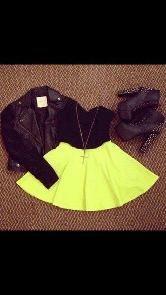 shoes spikes jacket black leather jacket skater skirt leather blouse dress black crop top yellow skirt black heels black leather jacket coat shoes and jewls