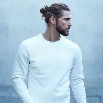 sweater mens sweater white sweater bun hairstyles