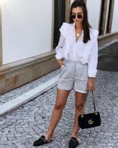 shorts,tumblr,stripes,striped shorts,shirt,white shirt,bag,black bag,shoes,sunglasses,necklace,gucci,gucci shoes