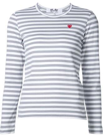 t-shirt shirt striped t-shirt heart mini grey top