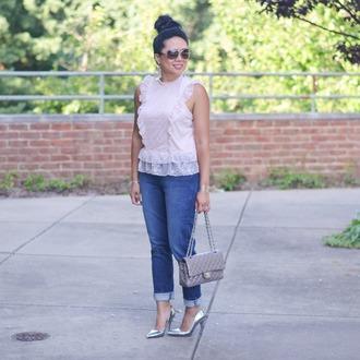 morepiecesofme blogger sunglasses jewels bag top shoes metallic shoes high heels pumps chanel bag