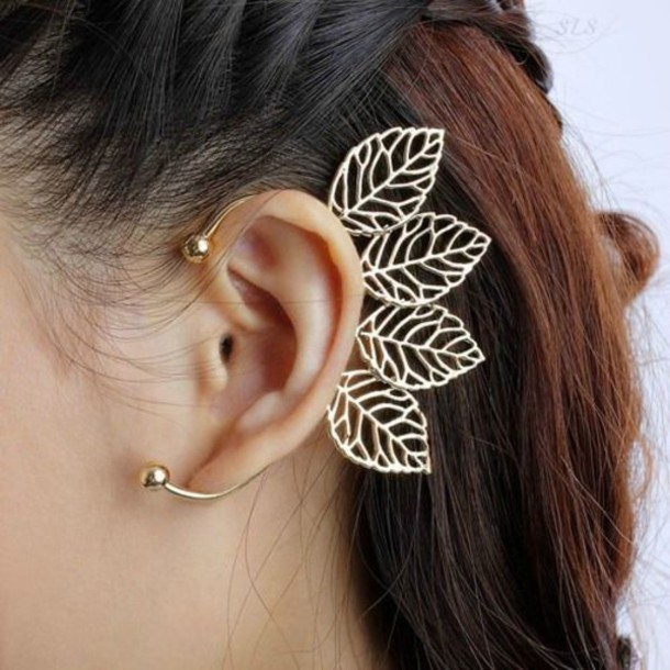 jewels earrings jewerly gold fashion cute cool leather girly pink ear wraps ear cuff earring wrap non pierced behind the ear