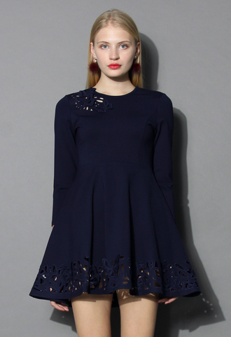 dress grace butterflies cutout dress in navy chicwish navy cut-out dress