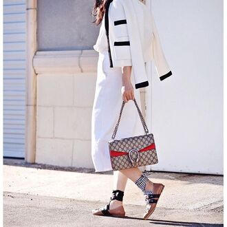 bag tumblr grey bag gucci gucci bag dionysus jacket white jacket pants white pants culottes white culottes miu miu flats ballet flats
