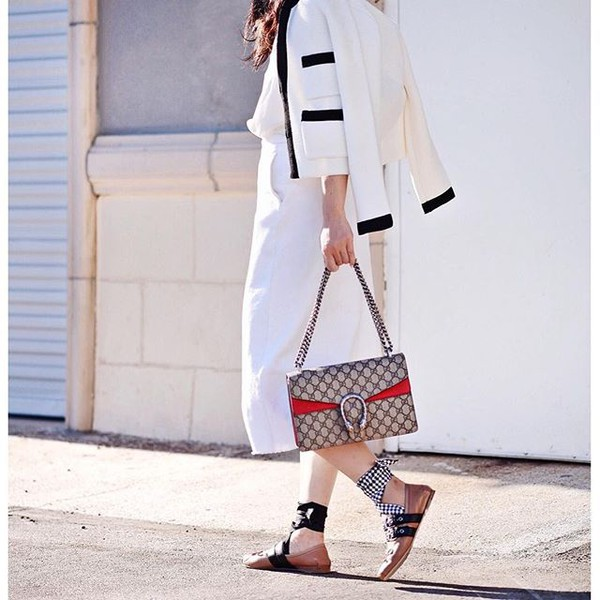 2d468a2f bag tumblr grey bag gucci gucci bag dionysus jacket white jacket pants  white pants culottes white