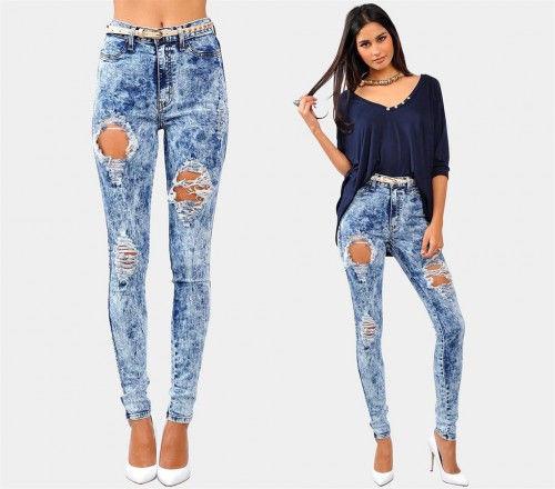 New Women Sexy Dark Acid Wash Highwaist Destroyed Skinny Jeans Stretchy WOW | eBay