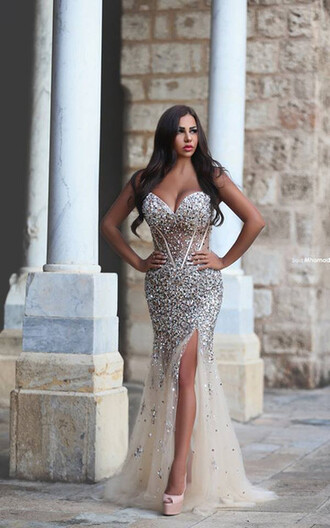 dress prom dress prom prom gown mermaid prom dress strapless beaded sequins chiffon cream off-white white
