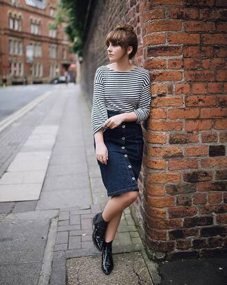 top skirt tumblr stripes striped top denim denim skirt midi skirt button up button up denim skirt boots ankle boots black boots pointed toe