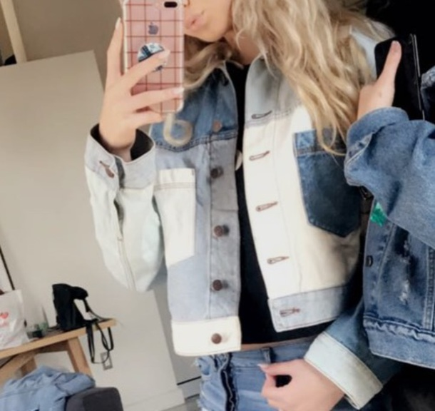 jacket denim jacket loren beech loren gray patchwork