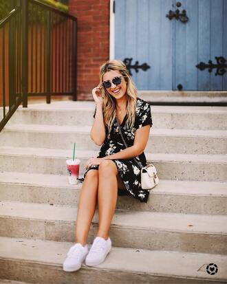 dress tumblr mini dress floral floral dress short sleeve dress sneakers white sneakers bag white bag shoes sunglasses