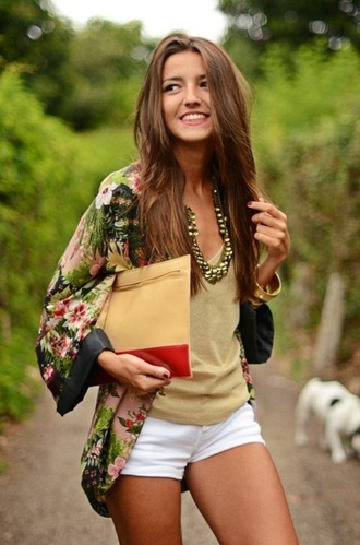 jacket vest bag kimono clothes lovely pepa blouse flowers fall outfits girl cute green pink floral kimono tank top jewelry necklace white shorts spring outfits fashion shoes white shorts cardigan japanese coat top floral chiffon sweater cover up jewels