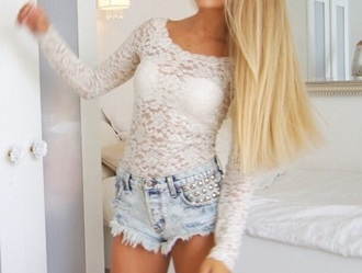 top lace top white lace top white top long sleeves long sleeve top
