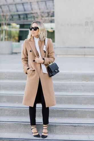 damsel in dior blogger camel coat chanel bag strappy shoes