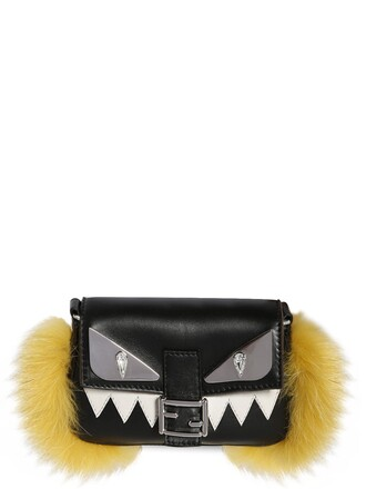 fur bag leather bag leather black