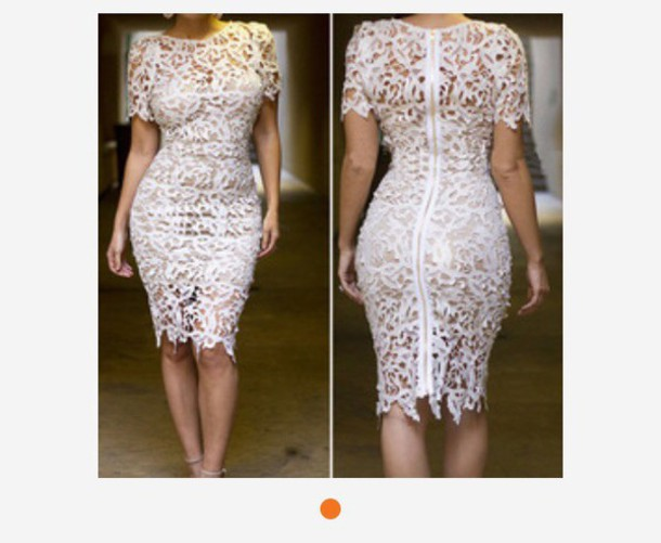 dress white and nude floral dress