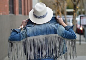 katwalksf blogger denim jacket fringes fringed jacket