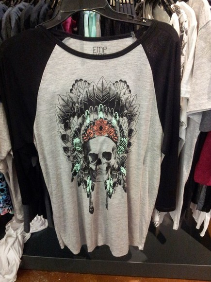 skull native american feathers zumiez baseball tee