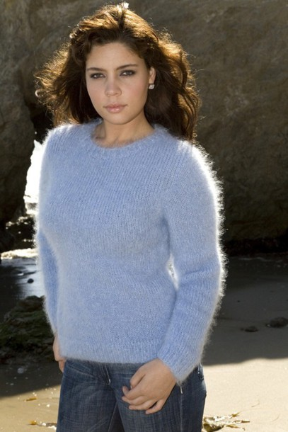 sweater mohair sweater blue sweater women's sweater fitted sleeved sweater crew-neck sweater knitted sweater long sleeved blue sweater