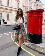 skirt,leopard print,midi skirt,wrap skirt,wrap ruffle skirt,wrap top,crossbody bag,sunglasses,boots,suede boots