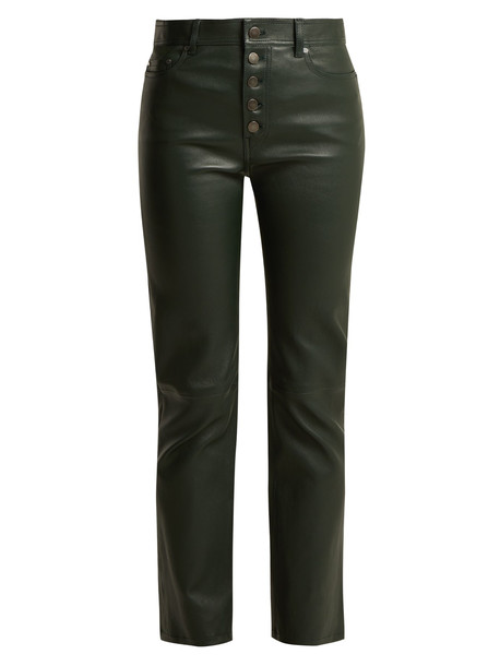 cropped leather green pants