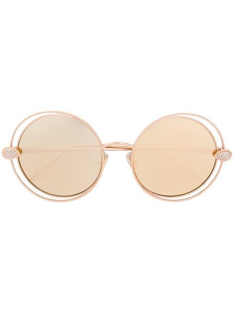 Boucheron - Swarovski crystal-embellished round frame sunglasses - women - Gold Plated Metal/Swarovski Crystal - 57, Grey, Gold Plated Metal/Swarovski Crystal in metallic