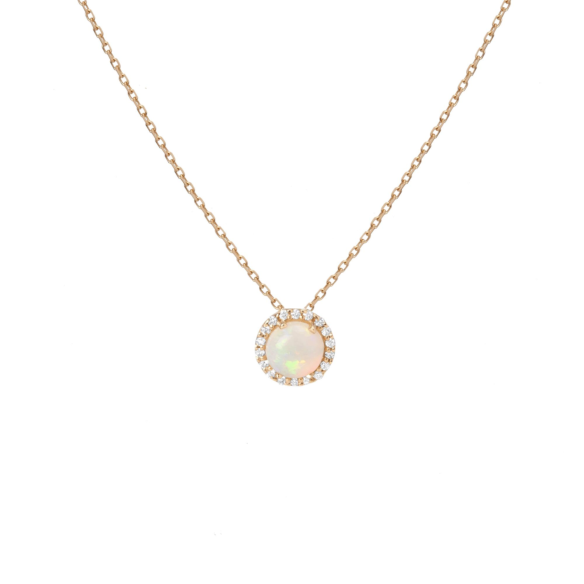 Halo Diamond Opal Pendant in Yellow, Rose or White Gold