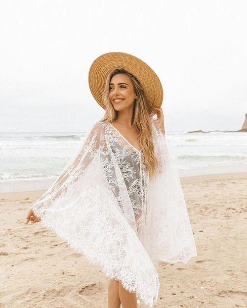 Swimwear Cover Up Summer Kimono White Baby Luxury Beach Beach Dress Lace Up Bikiniluxe Summer Outfits Wheretoget